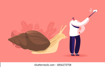 People and Gastropod Mollusk Pet Hobby Concept. Fauna Creature, Zoo. Tiny Male Character Making Selfie with Huge Achatina Snail for Posting in Social Media Networks. Cartoon Vector Illustration