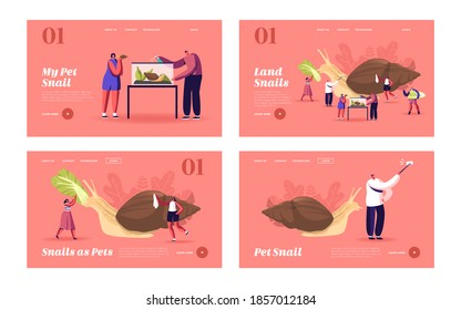 People and Gastropod Mollusk Pet Hobby, Fauna Creature Landing Page Template Set. Tiny Characters Care of Huge Achatina Snail Feeding and Cleaning Terrarium, Making Selfie. Cartoon Vector Illustration