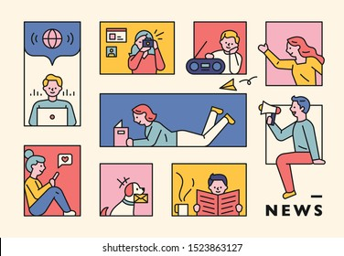 People gathering news from various media in the window of square frame. flat design style minimal vector illustration.