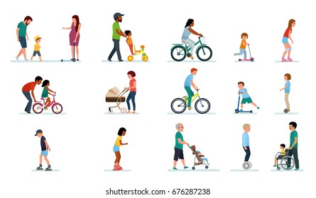 People generation. People of all ages in the Park. Set of illustrations of people walking in the Park, on bike, on scooter, on gyrometer. Happy family. Vector illustration flat cartoon style