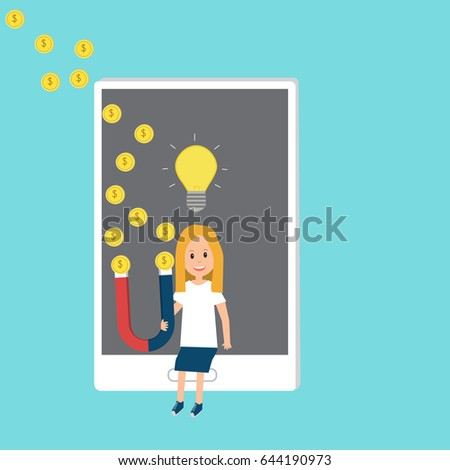 People Generation Z Holding Magnet Funding Stock Vector