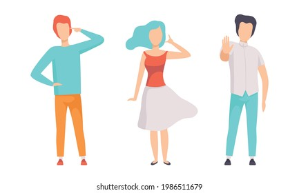 People Gesturing Set, Person Showing Negative and Positive Hand Gestures, Nonverbal Communication Concept Flat Vector Illustration