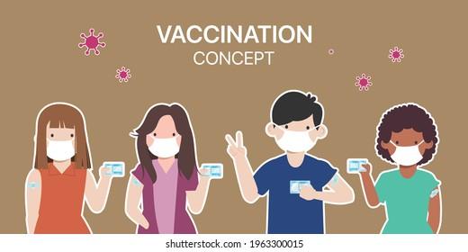 Die Menschen erhalten einen Covid-19-Impfstoff, um vor dem Virus zu schützen.