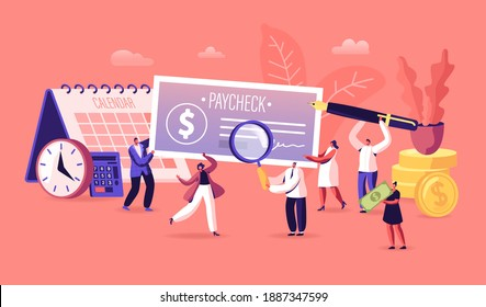 People Get and Signing Paycheck Concept. Male and Female Characters with Huge Quill Pen, Magnifying Glass and Cheque. Tax Free Income, Payroll Budget, Deposit Payday. Cartoon Vector Illustration