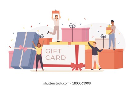 People with gift box. Giant gift boxes and group happy tiny men and women, gift card, discount coupon. Landing page template vector concept. Characters celebrating birthday or important event