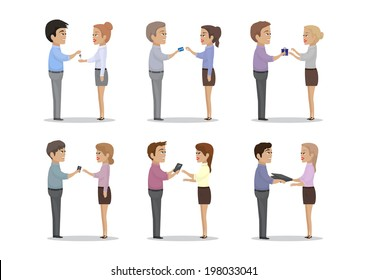 People Give Different Things As A Gift - Isolated On White Background - Vector Illustration, Graphic Design Editable For Your Design