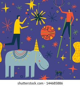 People give magical circus performance. Seamless vector background