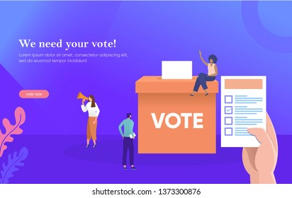 people give online vote and putting papper vote in to the ballot box vector illustration concept, can be use for, landing page, web, ui, banner, flyer, poster, template, background, homepage,