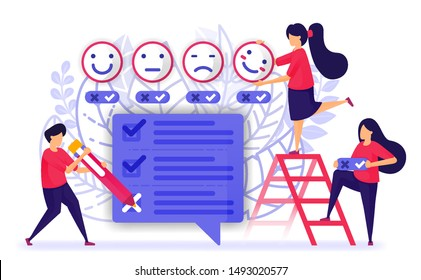 People give review and fill out questionnaires survey or exam for service or product. provide feedback with emoticon from customer experience. Vector Illustration For Web, Landing Page, Banner, Mobile