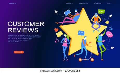 People give star feedback. Characters choose a satisfaction rating. People leave a positive review. User experience concept. 3d isometric vector illustration.