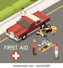 People giving first aid to man injured in result of car accident 3d isometric vector illustration