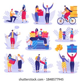 People giving presents, gifts to friends, children, loved ones set of men, women and kids celebrating holidays vector Illustrations on a white background. Birthday, christmas or valentines gift.