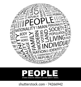 PEOPLE. Globe with different association terms. Wordcloud vector illustration.