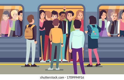 People go into subway train. Public urban transportation, metro platform, passengers trying to enter underground wagon vector overcrowded transport concept
