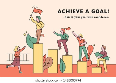 People go up in the limit toward the goal. flat design style minimal vector illustration