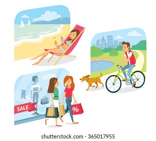 people go for shopping, relax in the beach, cycle