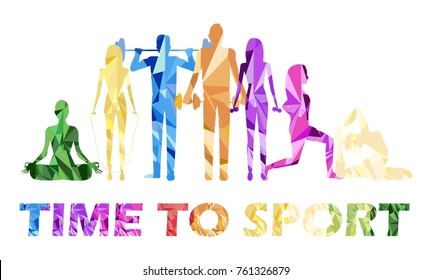 people go in for sports. colored silhouettes. vector illustration
