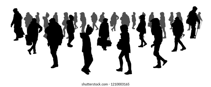 people go to work. crowd concept. silhouette of men and women. on white isolated background vector illustration