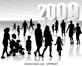 People are going to the New Year 2009.
