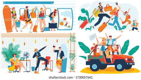 People going on summer vacation trip, funny concept, cartoon characters travel, vector illustration. Office worker ready for vacation, teenager friends summertime getaway, happy family travel together