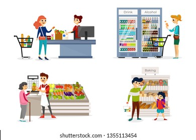 People going shopping in different grocery store departments.Visitors buying fresh bakery, beverages and vegetables. Interior of self service shop. Isolated on white