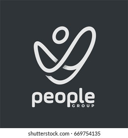people goup logotype The logo of the general availability of people and interaction with society through the network. icon Lines symbolize connections with the world