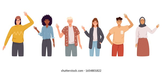 People greet gesture flat vector illustration set. People wave hello. Men, women in casual wear say hello.