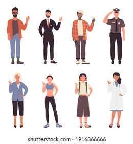 People greet and wave vector illustration set. Cartoon bearded hipster businessman policeman and boy waving hello, young woman doctor businessman and girl student with okay gesture isolated on white