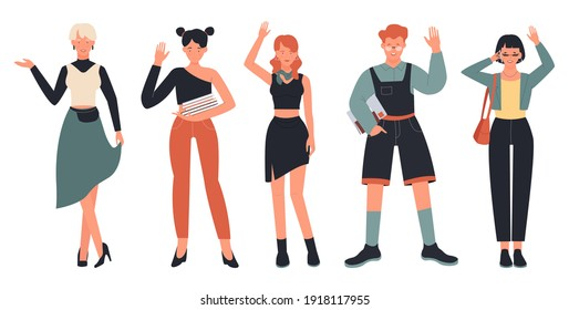 People in greeting communication poses vector illustration set. Cartoon woman, girl student with books or phone, boy character with glasses standing in row and waving hello or bye isolated on white