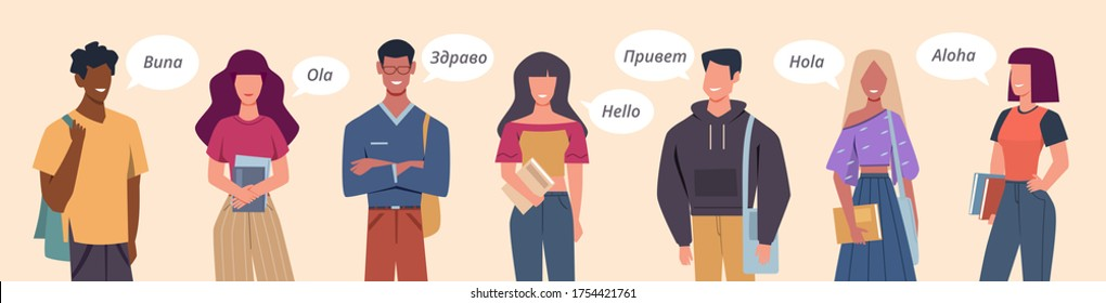 People greeting in different languages. Multilingual greeting bubbles, persons diverse countries, international communication vector multicultural concept