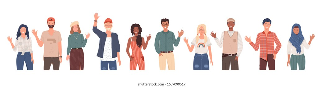 People greeting gesture. Different nations representatives waving hand saying hi. Men, women in casual clothes say hello. People waving hands and gesturing in friendly way. Characters wave their hand