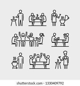 People Grilling Eating and Drinking Vector Icons