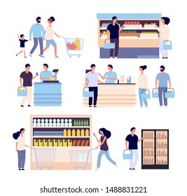 People in grocery store. Persons buying food in supermarket, shop customers woman, man with shopping cart. Isolated cartoon characters