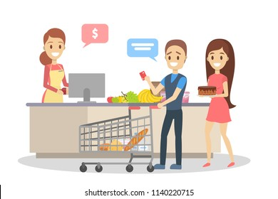 People in the grocery store stand at the cashier and pay for the food using credit card. Smiling saleswoman at the counter. Isolated flat vector illustration