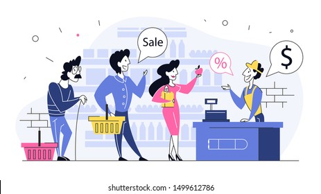 People in the grocery store stand at the cashier and pay for the food using credit card. Smiling sales man in uniform at the counter. Isolated flat illustration