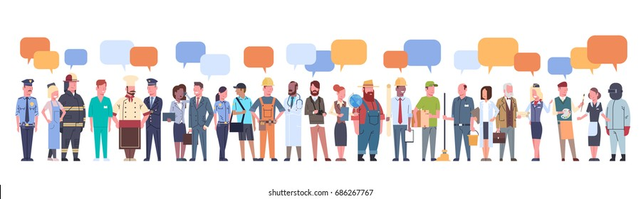 People Group With Chat Bubble Different Occupation Set Workers Profession Collection Flat Vector Illustration