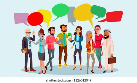 People Group Chat Vector. Communication Bubble. Teamwork. Office Lifestyle. Message. Speech Bubbles. Illustration