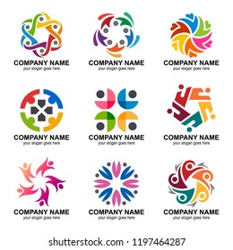 people group and community logo set collection