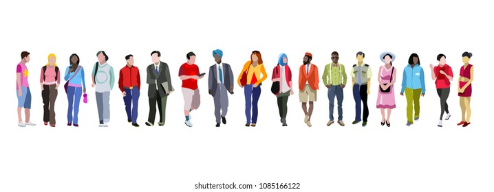 People group, crowd of diverse multi-ethnic people standing together on horizontal banner. Can use for web banner, infographics, hero images. Flat vector illustration isolated on generic white