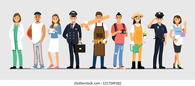 People Group Different Job Set,  Flat Vector Illustration Background