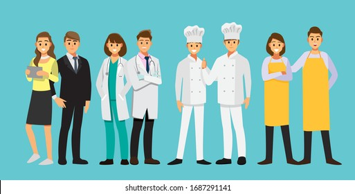 People Group Different Job Set 04 ,  Flat Vector Illustration Background