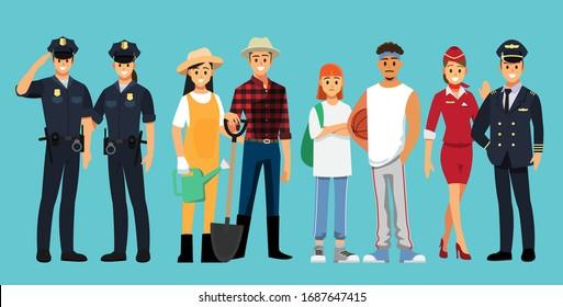 Menschen gruppieren unterschiedliche Stellenangebote, flatter Vektorgrafik-Hintergrund