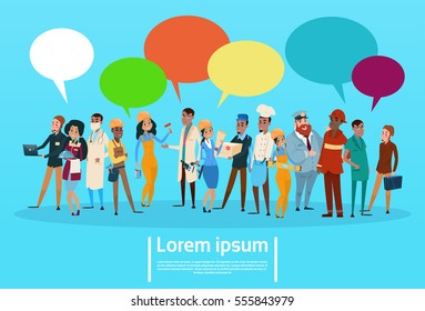 People Group Different Occupation Employees Mix Race Workers With Chat Bubble Network Communication Banner Flat Vector Illustration