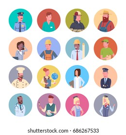 People Group Different Occupation Icons Set Workers Profession Collection Flat Vector Illustration