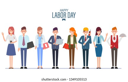 People Group Different Occupation job Set. International Labor Day.