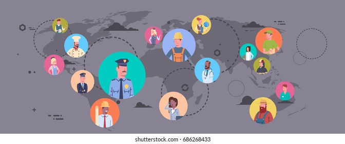 People Group Different Occupation Over World Map Workers Profession Connection Flat Vector Illustration