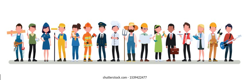 People Group Different Occupation Profession Set, International Labor Day Flat Vector Illustration