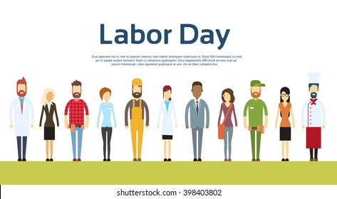 People Group Different Occupation Set, International 1 May Labor Day Flat Vector Illustration