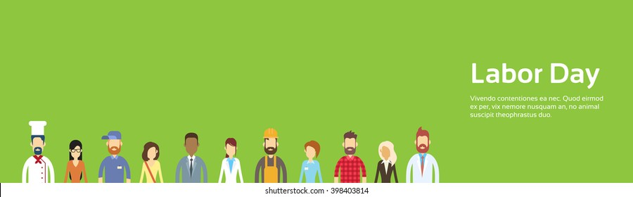 People Group Different Profession, Labor Day 1 May Holiday Banner With Copy Space Flat Vector Illustration