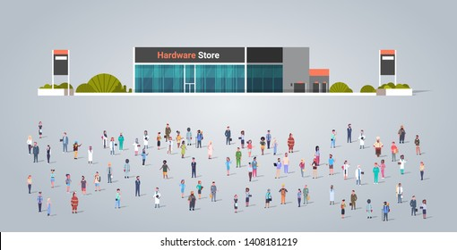 people group in front of hardware store building different occupation employees mix race workers crowd illustration